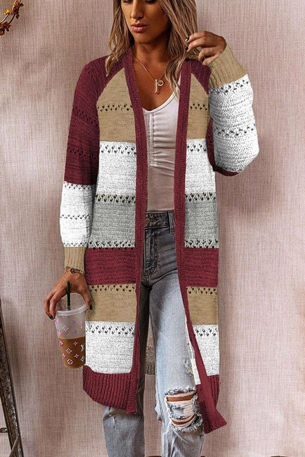 Wine Color Block Eyelet Knitted Lightweight Cardigan