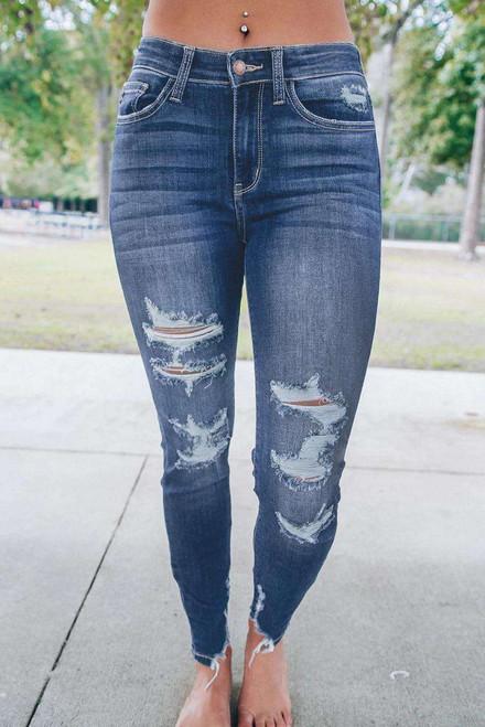 Blue Medium Wash High Rise Distressed Skinny Jeans