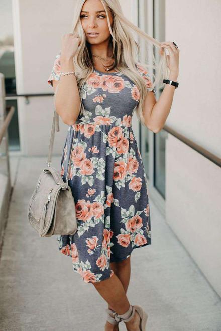 Gray Floral Print Short Sleeve Pleated Mini Dress