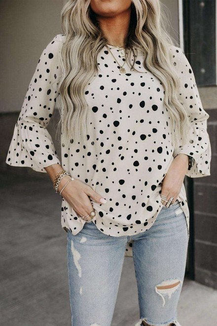 Apricot Dotted Print Bell Sleeve Top