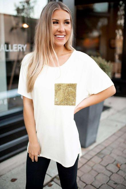 Sequin Pocket White Short Sleeve T-shirt