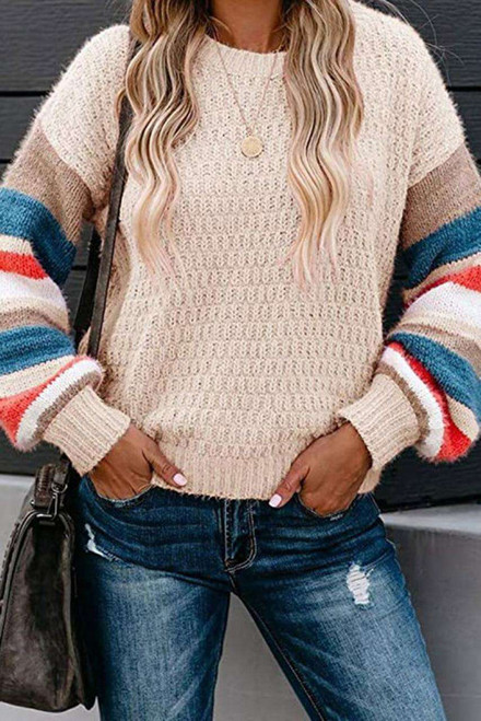 Apricot Crew Neck Lantern Sleeve Striped Color Block Sweater