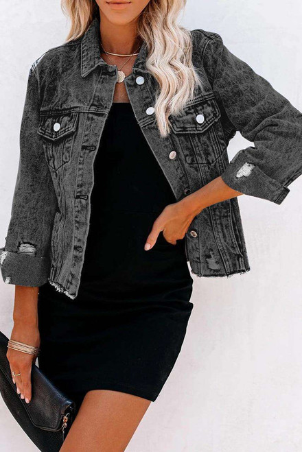 Gray Turn Down Collar Buttons Cut-out Denim Jacket