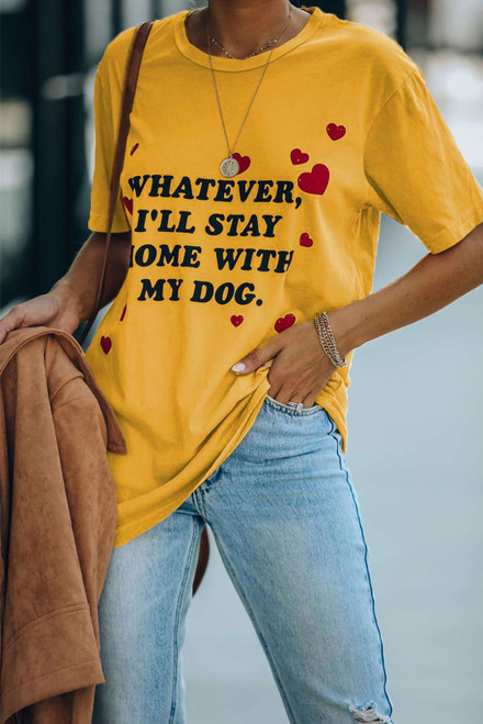 Yellow Letter Print Crew Neck Short Sleeve Casual Tee