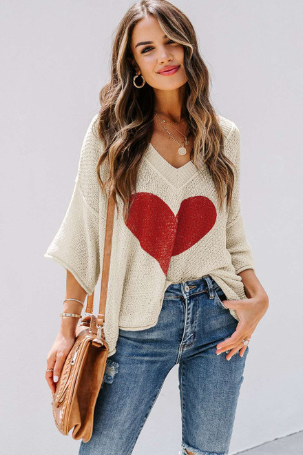 Beige V-neck Dropped Sleeve Heart Print Slouchy Top