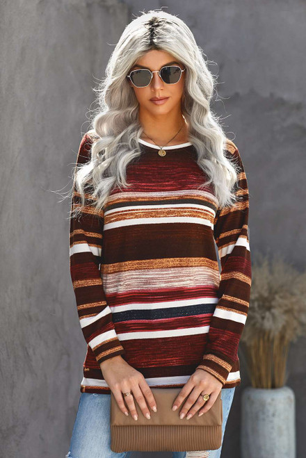 Striped Tie Dye Knit Long Sleeve Top