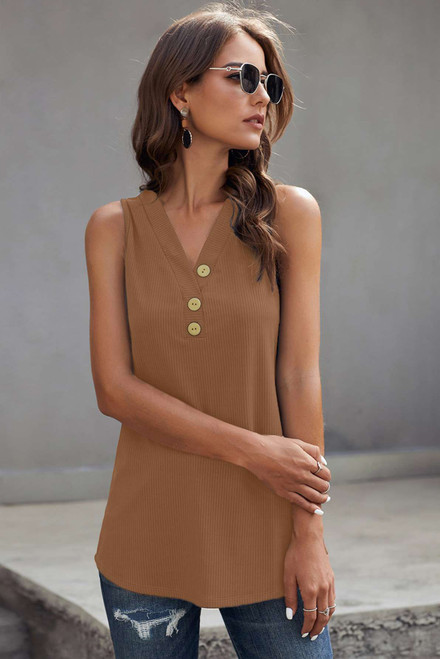 Brown Just Say The Word 3 Button Tank Top