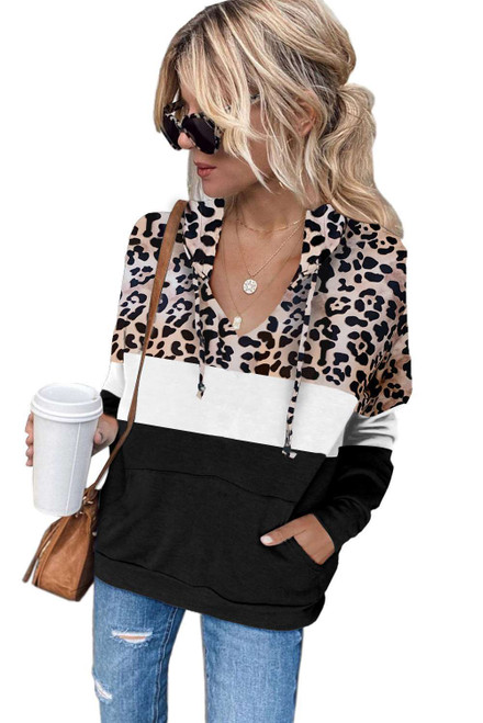 Black Leopard Splicing Kangaroo Pocket Drawstring Hoodie