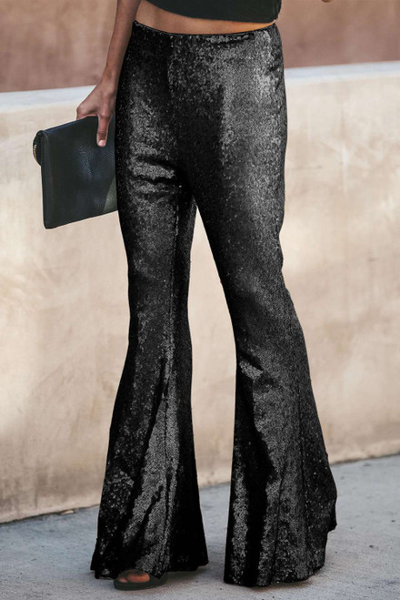Black Sequin Bell Bottom Fashion Pants