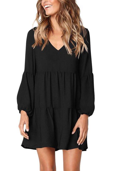 Black Ruffle V-Neck Flowy Loose Tunic Dress