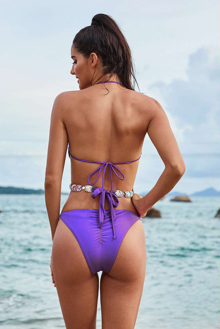 Purple Halter Sequin Splicing Rhinestone Bandage Bikini Set
