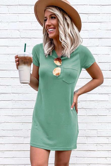 Green Crew Neck Short Sleeve Pocket Casual Mini Dress