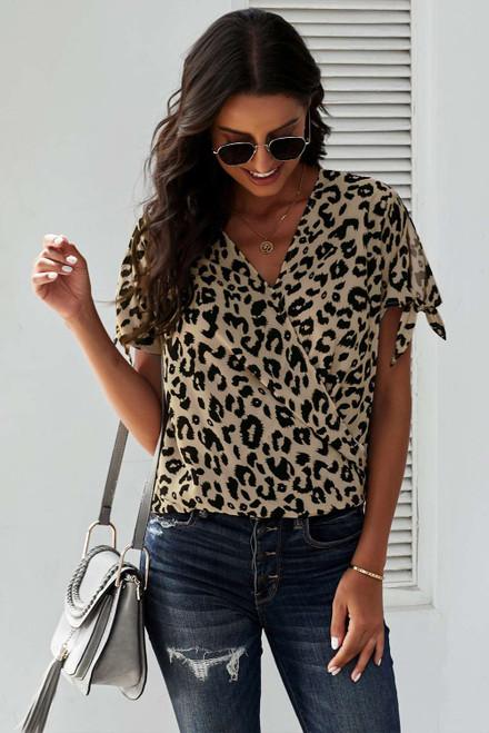 Leopard V Neck Twist Top