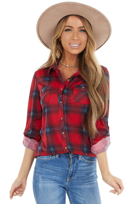 Red Plaid Button Shirt With Pockets