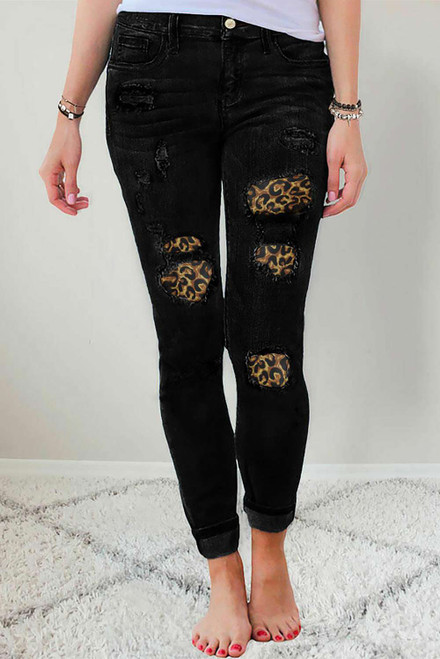 Ripped Leopard Patch Pocket High Waist Skinny Jeans