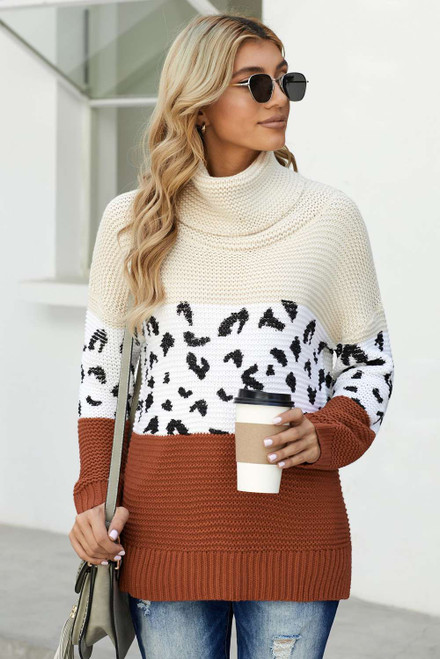 Apricot Turtleneck Splicing Chunky Knit Pullover Sweater
