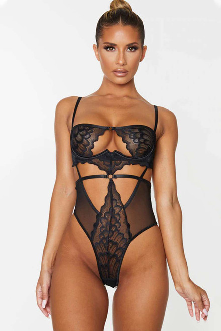 Black Lace Hollow out Bodysuit
