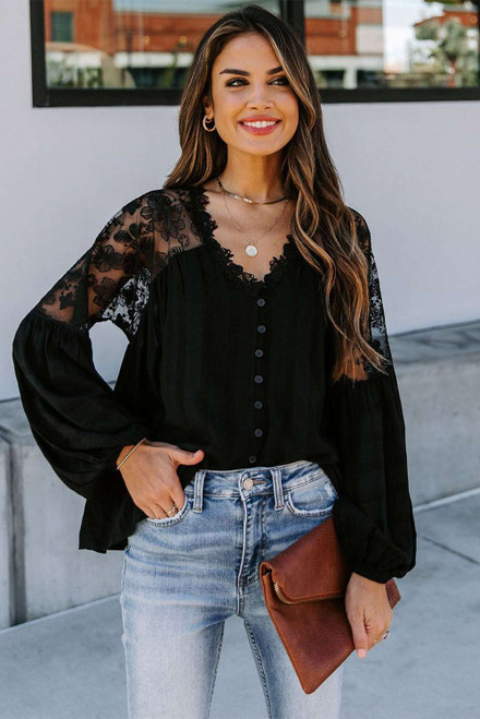 Black V Neckline Lace Shoulder Patchwork Blouse