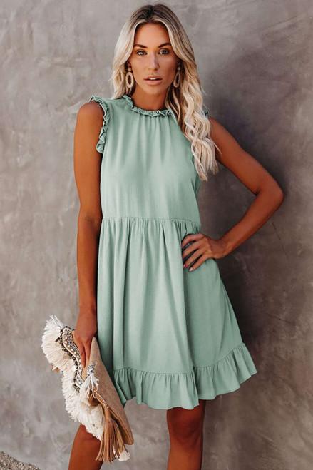 Green Pocketed Ruffle Babydoll Dress