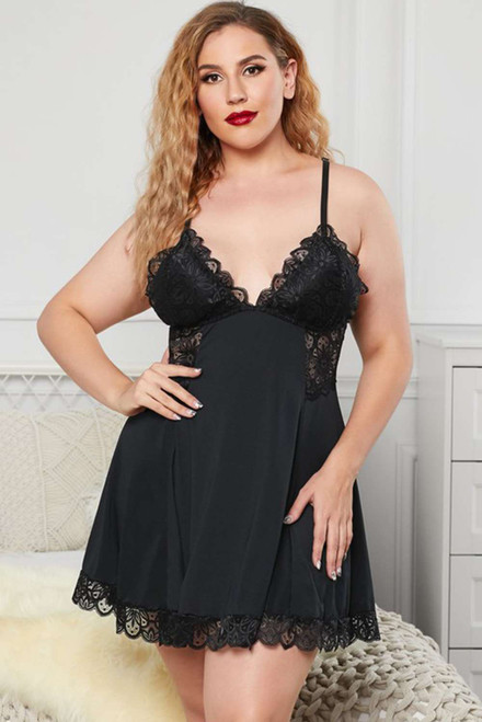 Black Lace Backless Moonlight Plus Size Babydoll