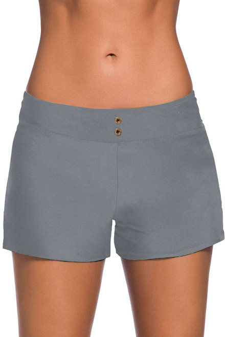 Gray Eyelets Waistband Swim Boyshorts