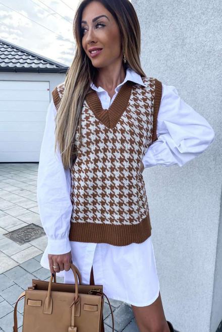 Brown V Neck Argyle Plaid Knitted Sweater Vest