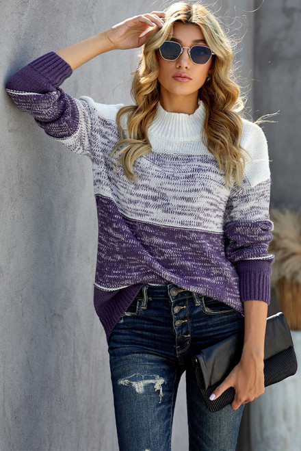 Purple Colorblock Knit Pullover Sweater