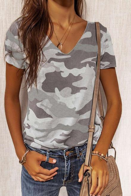 Gray Camouflage Print Short Sleeve Tee