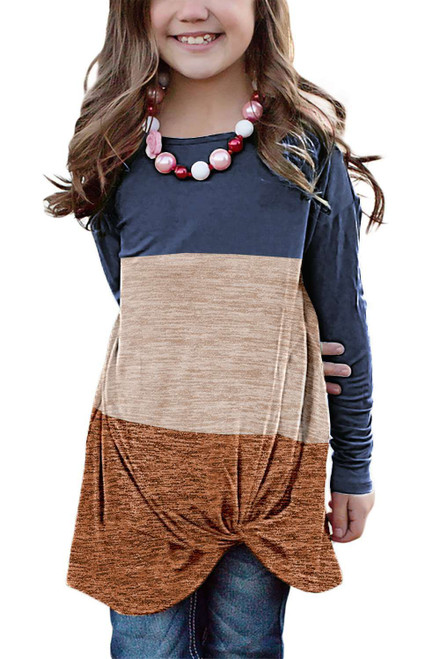 Blue Little Girls Twisted Knot Color Block Long Sleeve Top