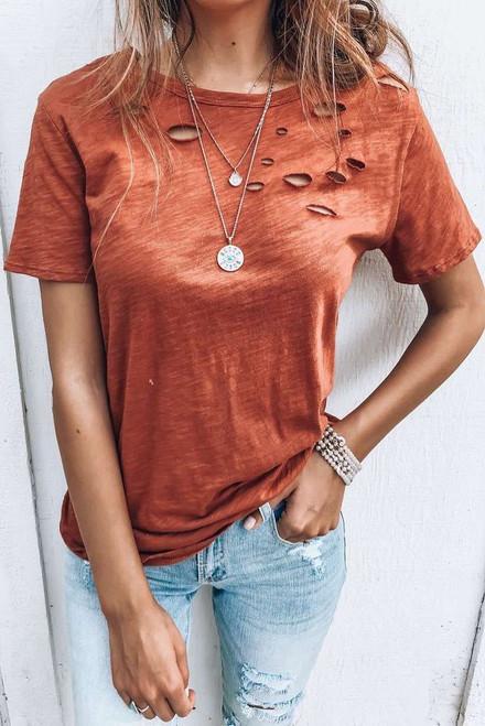 Orange Holes Crew Neck Cotton Mixed T-shirt