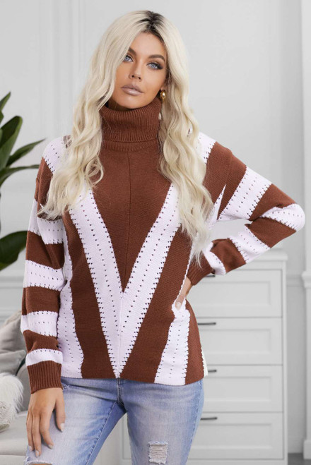 Brown Striped Color Block Turtleneck Knitted Sweater