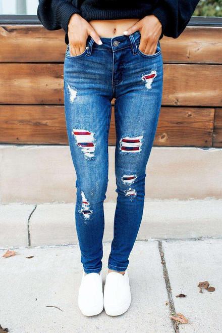 Dark Wash Mid Rise Distressed Plaid Patch Skinny Jeans