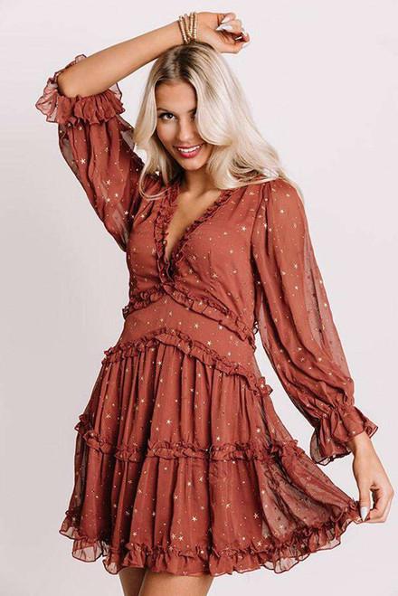 Rust Glitter Stars V Neck Backless Ruffle Mini Dress