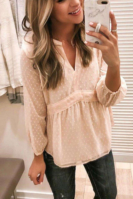 V Neck Dotted Baby-doll Long Sleeve Top