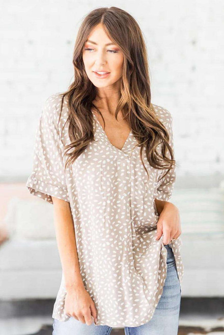 Apricot Chloe Animal Print V-neck Rolled Sleeve Tunic Top