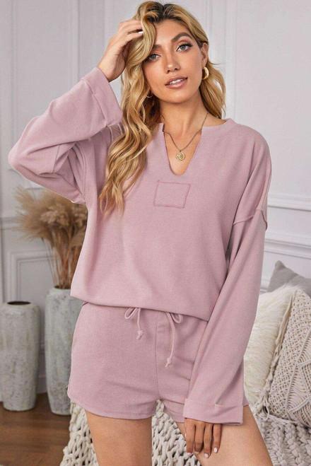 Pink Inverted Knit Pullover Shorts Set