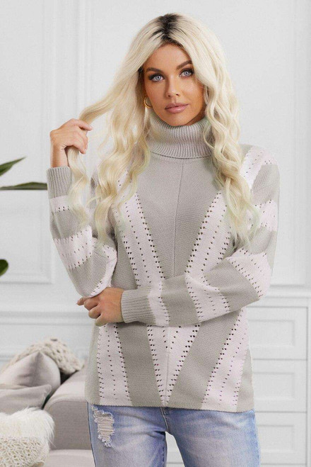 Gray Striped Color Block Turtleneck Knitted Sweater