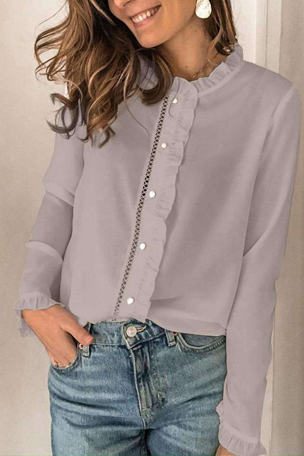 Apricot Frilled Neckline Buttoned French Shirt