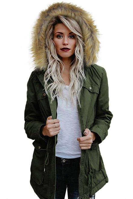 Green Zipper Snaps Pocket Plush Hooded Parka Jacket