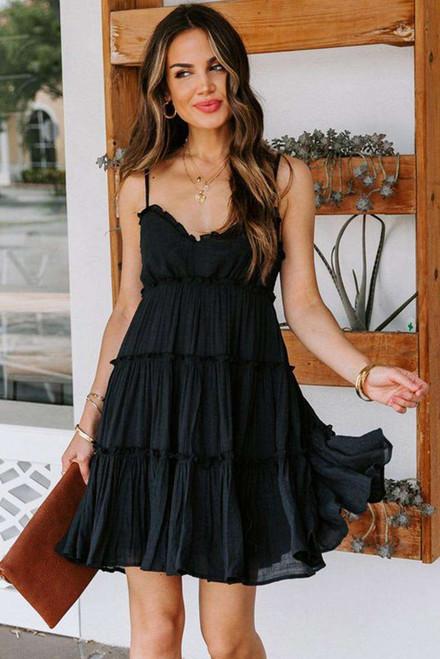 Black Spaghetti Straps Ruched Ruffled Mini Dress