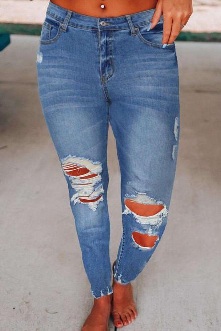 Raw Cut Frayed Hem Medium Wash Jeans