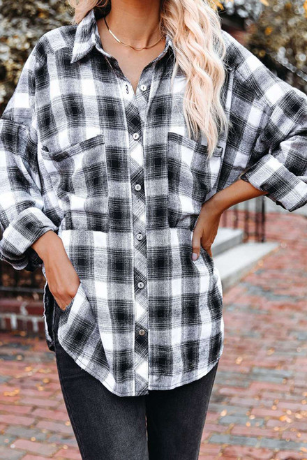 Black Cotton Blend Plaid Buttoned Shirt with Bust Pockets