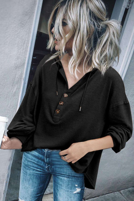 Black Buttoned High and Low Hem Hoodie