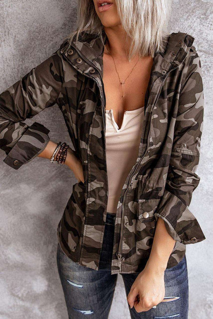 Camouflage Stand Neck Zipper Snaps Jacket