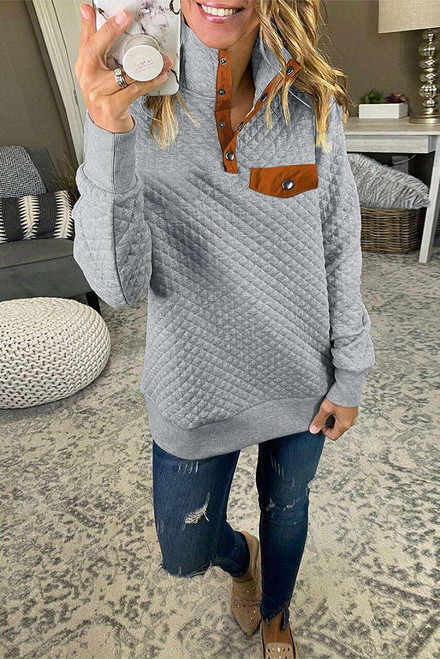 Gray Quilted Snaps Stand Neck Pullover Sweatshirt with Fake Front Pocket