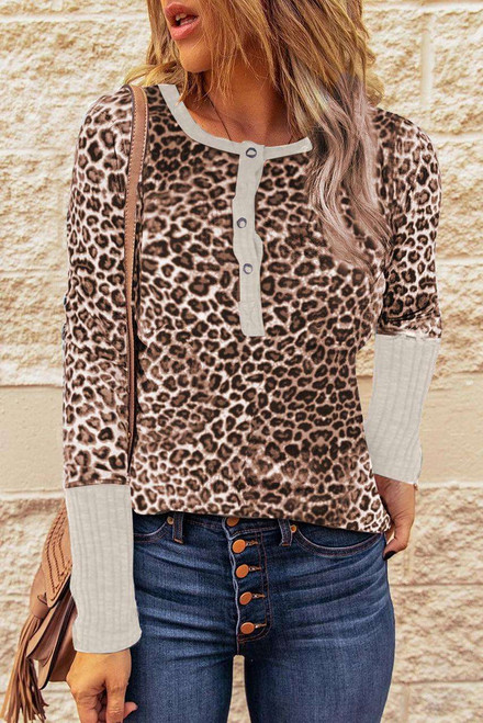 Brown Leopard Print Ribbed Sleeve Cuffs Top