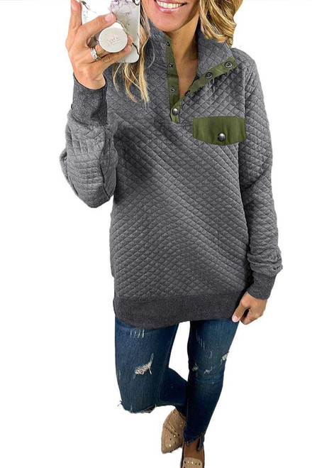 Dark Gray Quilted Snaps Stand Neck Sweatshirt with Fake Front Pocket