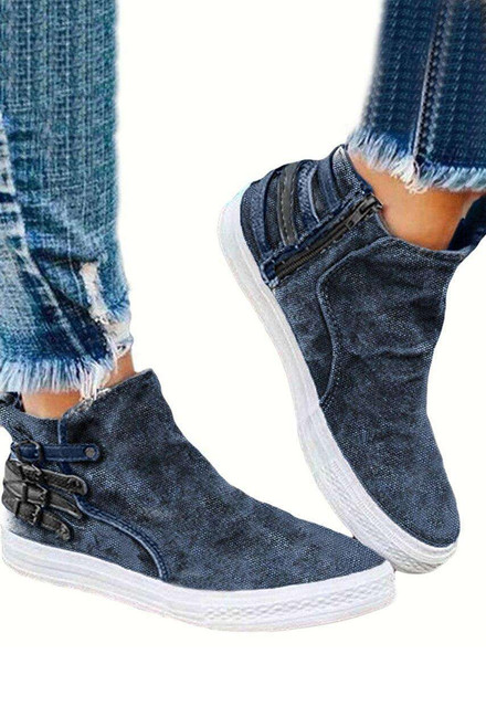 Blue Slip-On Design With Side Zipper Closure Sneakers