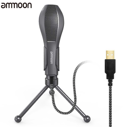 Ammoon USB Wired Condenser Microphone With Stand For Online Broadcasting Chat and Games