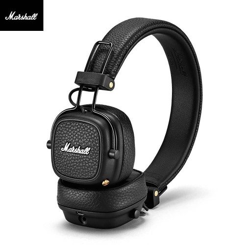 MARSHALL MAJOR III Headset with Mic Wired Over Ear Headphones Foldable with In-Line Control Microphone 40mm Driver Unit Dual 3.5 mm Audio Jack
